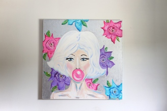 """Marilyn's Roses"" 36x36 Acrylic on canvas/hard resin $1,200 SOLD"