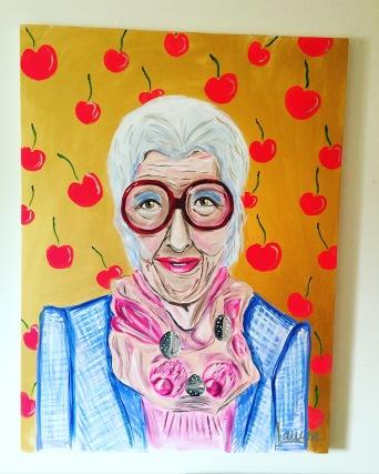 Iris and Cherries - 36x48 Acrylic on Canvas $950