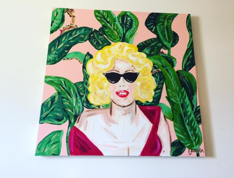 """Marilyn and Martinique"" 36x36 Acrylic on canvas $750"